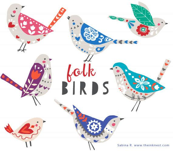 CLIP ART  Folk Birds  for commercial and personal by theinknest, €6.35