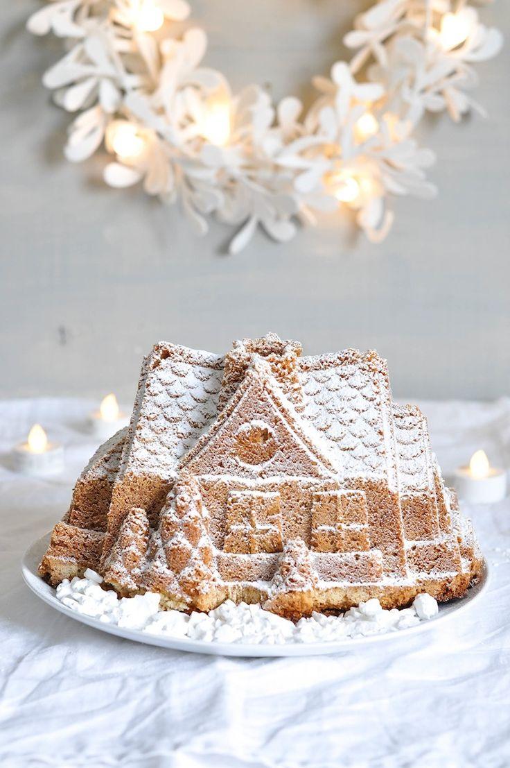 gingerbread bundt cake house with cinnamon & lemon