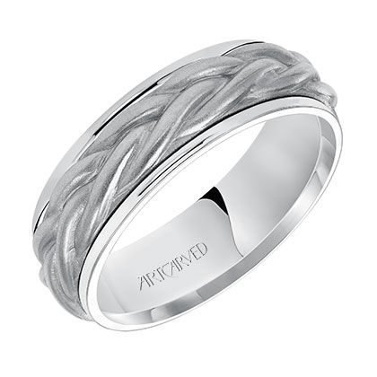 Men S Wedding Band With Of A Rope Center Motif And Flat Bright Rims In 7 0mm