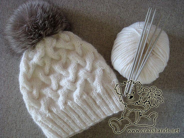 Padrão de chapéu de malha de cabo para o inverno
