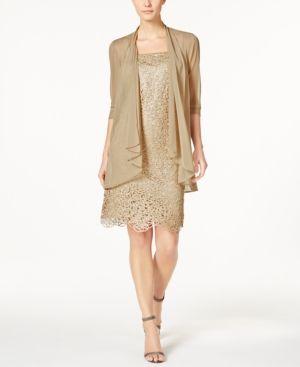 R & M Richards Petite Metallic Sheath Dress and Draped Jacket  - Gold 12P