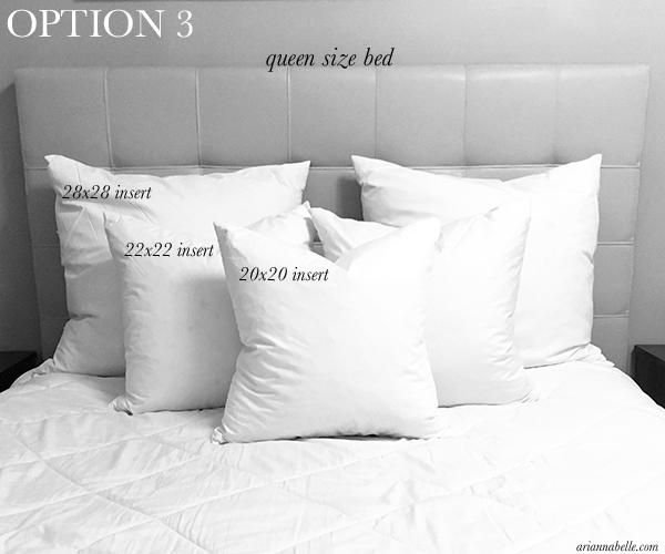 Size And Placement Guide For Decorative Pillows On A Queen Bed Bedroom Pillows Arrangement Bed Pillows Pillow Size Guide