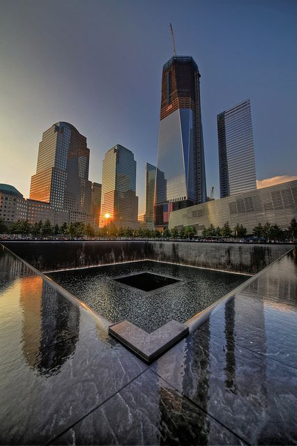 9/11 Memorial and Freedom Tower rising