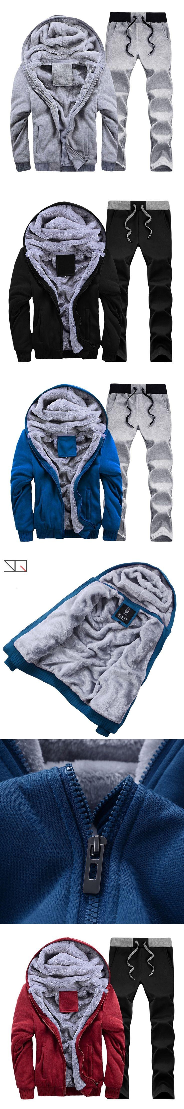 Tracksuit Mens Casual Warm Cotton Sportwear Winter Thick fleece Cardigans Sets Sweatshirt Men xxxxl #D59