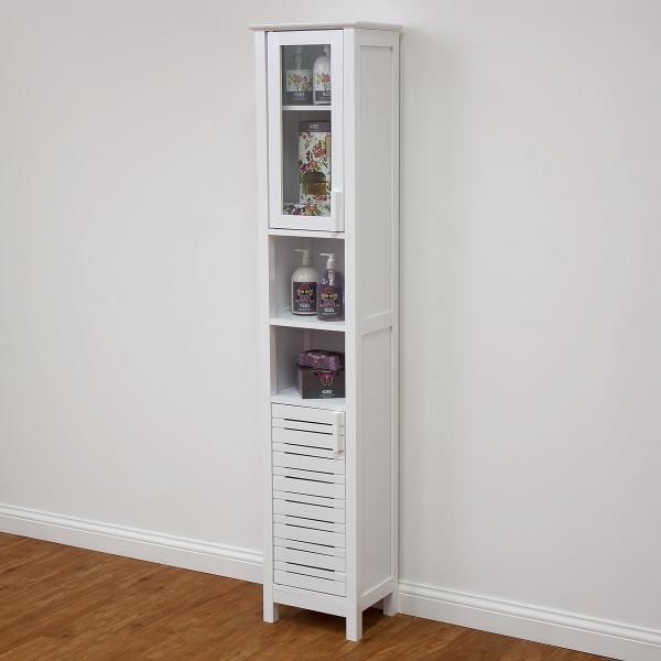 Tall Slim Cupboard Display Cabinet White Shelves Storage