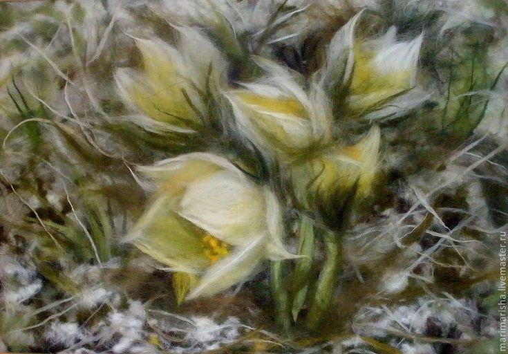 """Купить Картина из шерсти """"Подснежники. Сон-трава."""" - лимонный, шерсть, картина в подарок, картина"""