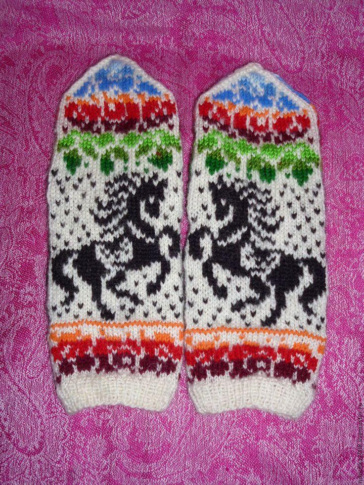 """Купить Варежки """"Городец"""" - комбинированный, орнамент, зимняя мода, русский стиль, варежки ручной работы"""