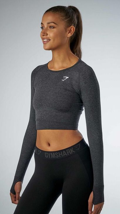 439743eff6f71 NWT GYMSHARK Vital Seamless Long Sleeve Crop Top - BLACK - Small or Medium   fashion  clothing  shoes  accessories  womensclothing  activewear (ebay  link)