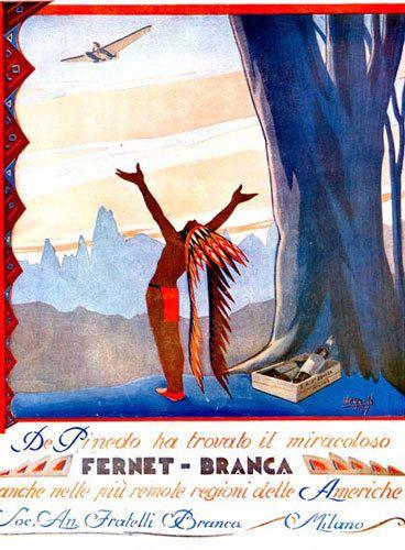 Gino Negrin - FERNET BRANCA - pubblicità futurista -indiano-aereo-montagna -1927