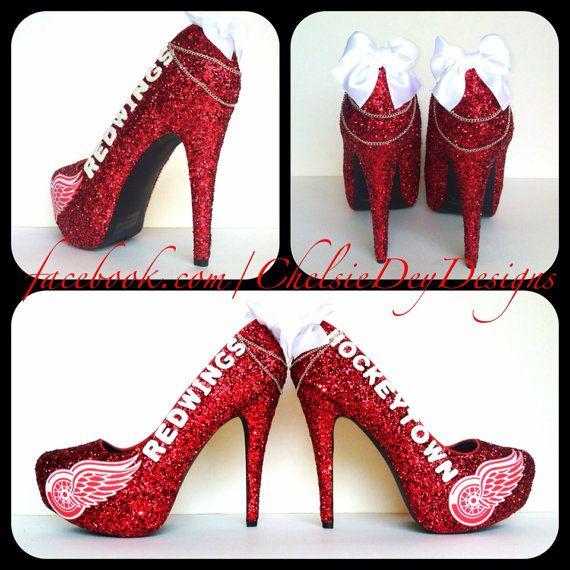 Detroit Red Wings Glitter High Heels by ChelsieDeyDesigns on Etsy, $105.00