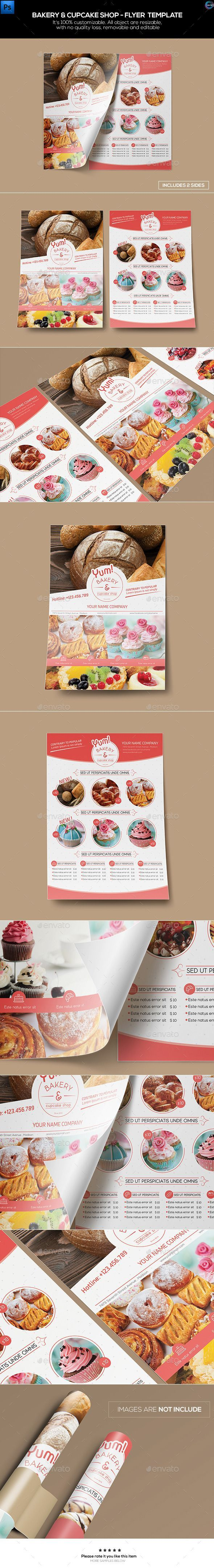 Bakery & Cupcake Shop - Flyer Tempalte #design Download: graphicriver.net/...