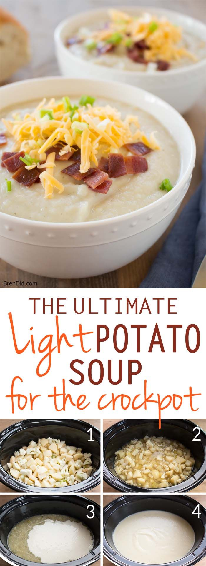 Healthy crock pot recipe. Light potato soup is an easy & delicious dinner choice. Classic baked potato soup flavor, full of (secret) vegetables. Loaded baked potato soup was never so good! #crockpot #slowcooker #potatosoup