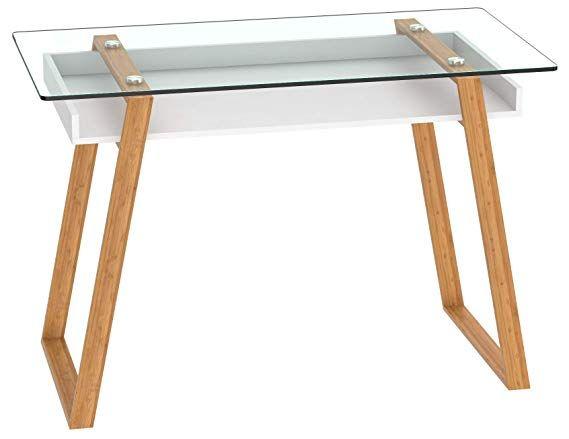 Amazon Com Bonvivo Writing Desk Massimo Contemporary Desk Combining Glass And Wood Modern Desk With Bamboo Leg Contemporary Desk Modern Wood Desk Glass Desk