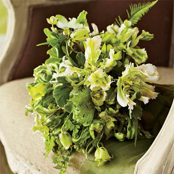 Flowers Ideas for a Garden Wedding :this bridal bouquet incorporates green wave parrot tulips, green fritillaria, dogwood, lemon-scented geranium and maidenhair and umbrella ferns