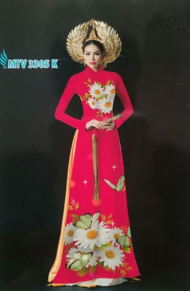 ff1ac1502 Plum Pink Floral Ao Dai Custom Made, CHIFFON 3D Dress, Thai Tuan Silk Pant  #Handmade #AoDai #Casual
