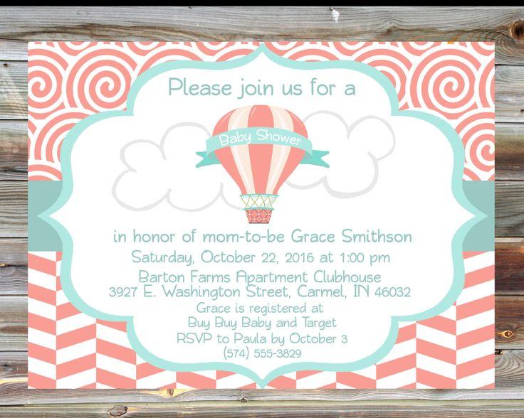 Hot Air Balloon Theme Baby Shower Invitation - Personalized Custom Girl Baby Shower Invitation - Salmon Mint Baby Shower Invitation by ViaBarrett on Etsy
