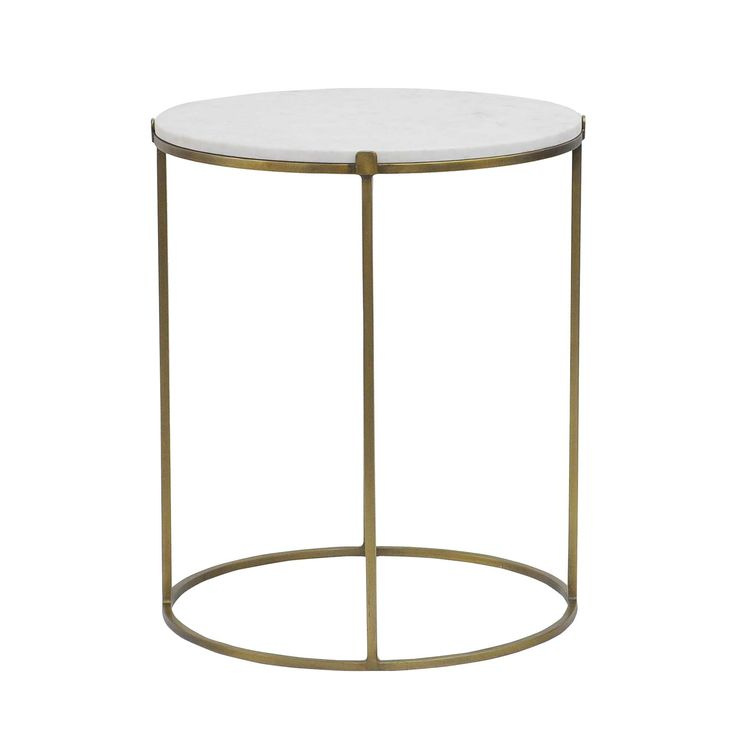 Cara Round Side Table, Antique Brass And White Marble   Occasional Tables   Living Room