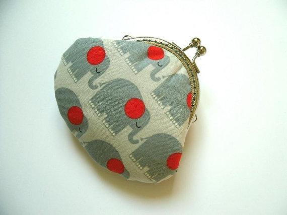 Grey Elephants coin purse  Bridesmaid Gift by Cutefairybear