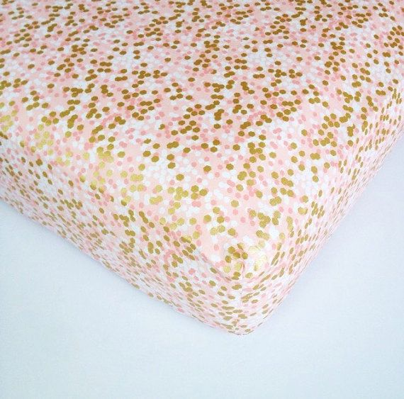 Metallic Gold and Pink Bedding - Coral Pink Baby Sheet - Standard or Mini Crib Sheets / Changing Pad Cover / Etsy Baby Bedding