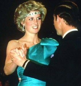 Cambridge Emerald Choker Necklace worn by Princess Diana.  As you can see from the picture, Princess Di often wore her jewelry in unconventional ways such as the famous choker worn as a headband. This Emerald necklace was a wedding gift from Queen Elizabeth which was originally owned by Queen Mary.