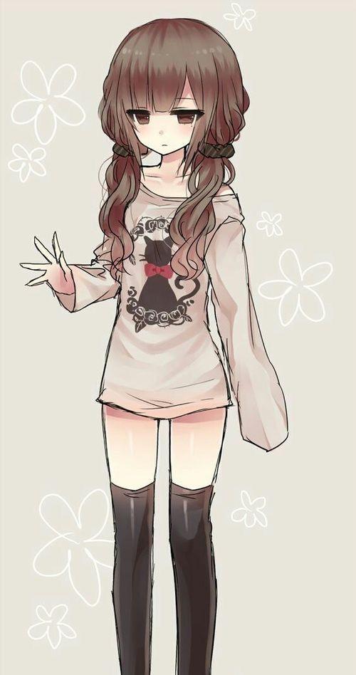 Cute little anime girl with brown hair