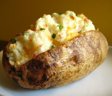 Microwave baked potatoes - 10 minutes instead of 1 hour (wrap it in a wet towel)