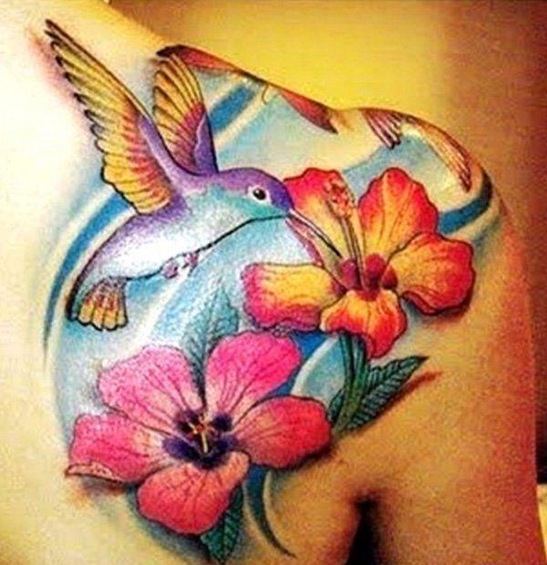 Beautiful hummingbird and flower tattoo - 55 Amazing Hummingbird Tattoo Designs  <3 <3