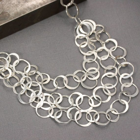 Sterling Silver Chain Statement Necklace by LizardiJewelry on Etsy