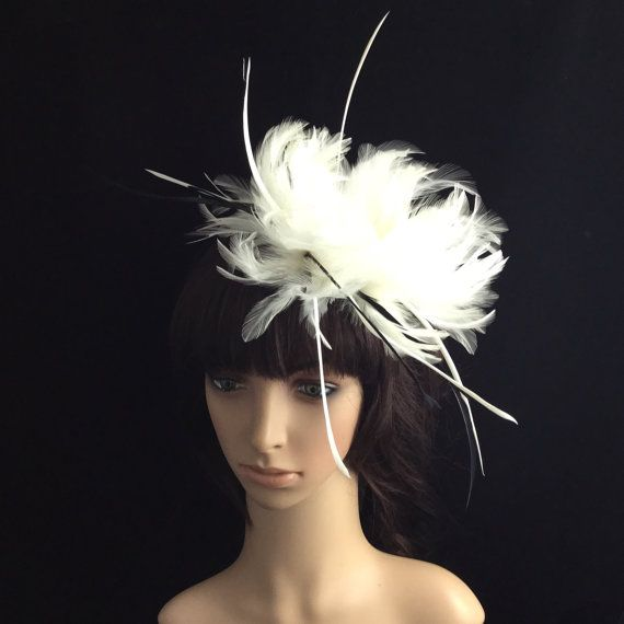 White Fascinator with Feathers, Wedding Headpiece, Bridal Headband, Kentucky Derby Fascinator,Melbourne Cup, Hair accessories