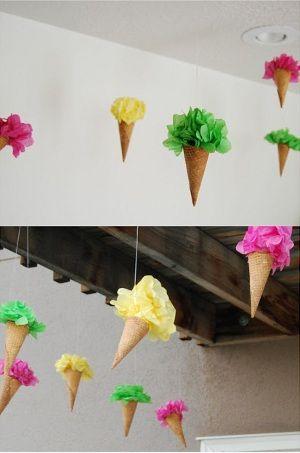 decoracion conos de helados para fiestas