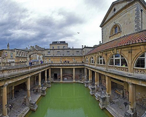 The Roman spa at Bath, a great example of Roman engineering in a great British town, the perfect place for afternoon tea and scones