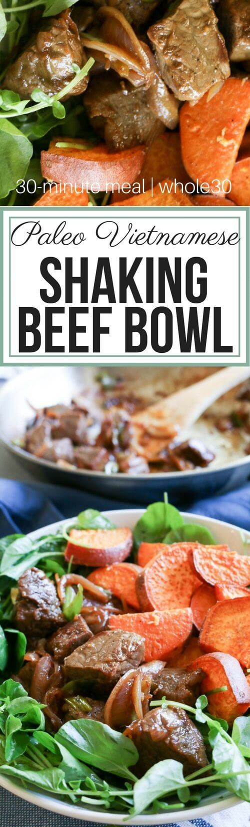 Paleo Vietnamese Shaking Beef Bowl with Lime-Pepper Sauce is full of bold flavors as pan-seared steaks, onions, ginger and lime-pepper dipping sauce come together. With its pungent bite, the watercress is a great contrast to the beef and roasted sweet pot