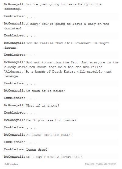 The hilarious headcanon one-sided argument Professor McGonagal and Dumbledore probably had on 4 Privet Drive the day they left Harry.