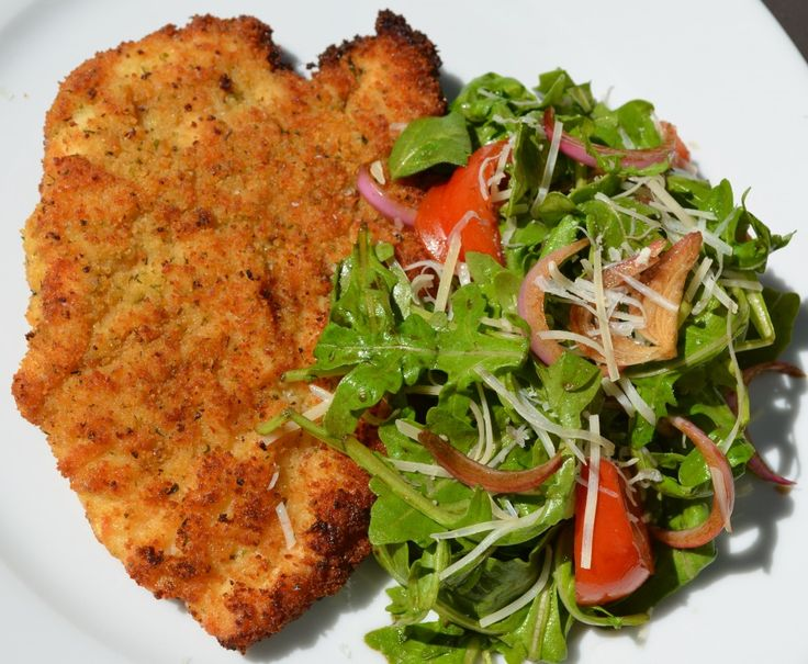 Chicken Milanese and Arugula Salad with Balsamic-Marinated Red Onions {Gluten-Free}