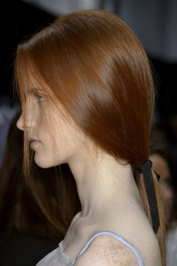 """Redken Creative Consultant, Guido, styled the hair at the Nina Ricci SS14 debut during ParisFashion Week. One of themodelsfor theshowwas not only a gorgeous redhead, but rocked the most effortless,low ponytail. """"While the hair is simple for Nina Ricci, the l"""