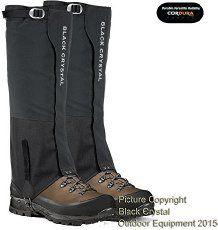 Guêtres de randonnée Black Crystal pour hommes en nylon imperméable et respirant tailles 44-46