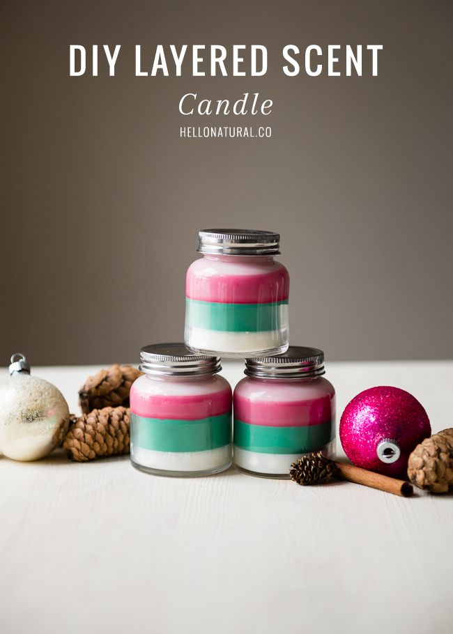 Layered Scent DIY Holiday Candles | Great idea for craft night where everyone can use their favorite colors!