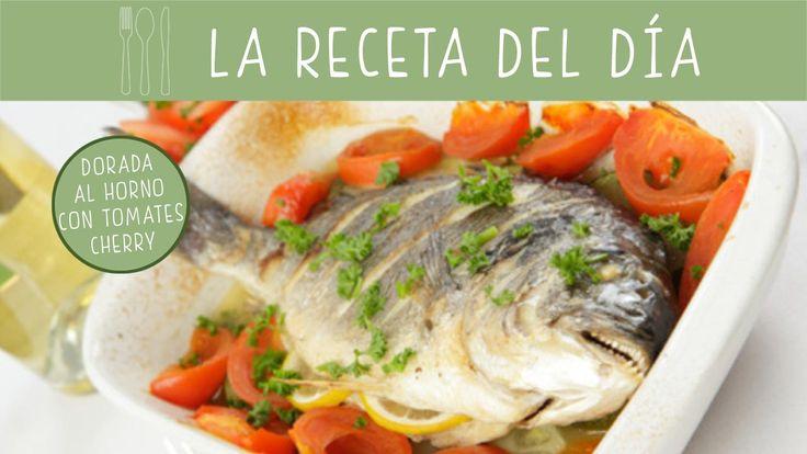 El pescado al horno es una #receta muy sana para los #niños. Prepara una dorada con tomatitos cherry.
