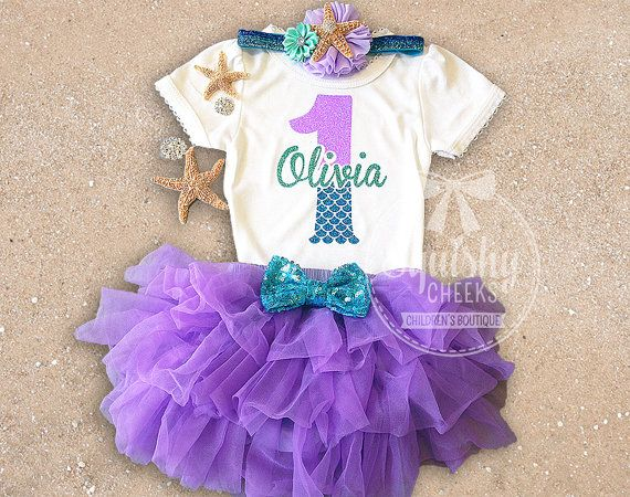 Mermaid Birthday Outfit PERFECT for any little mermaids birthday!  This outfit includes: TOP: Adorned with a sparkly personalized mermaid