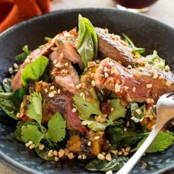 Thai beef salad with roast pumpkin, kaffir lime and peanuts
