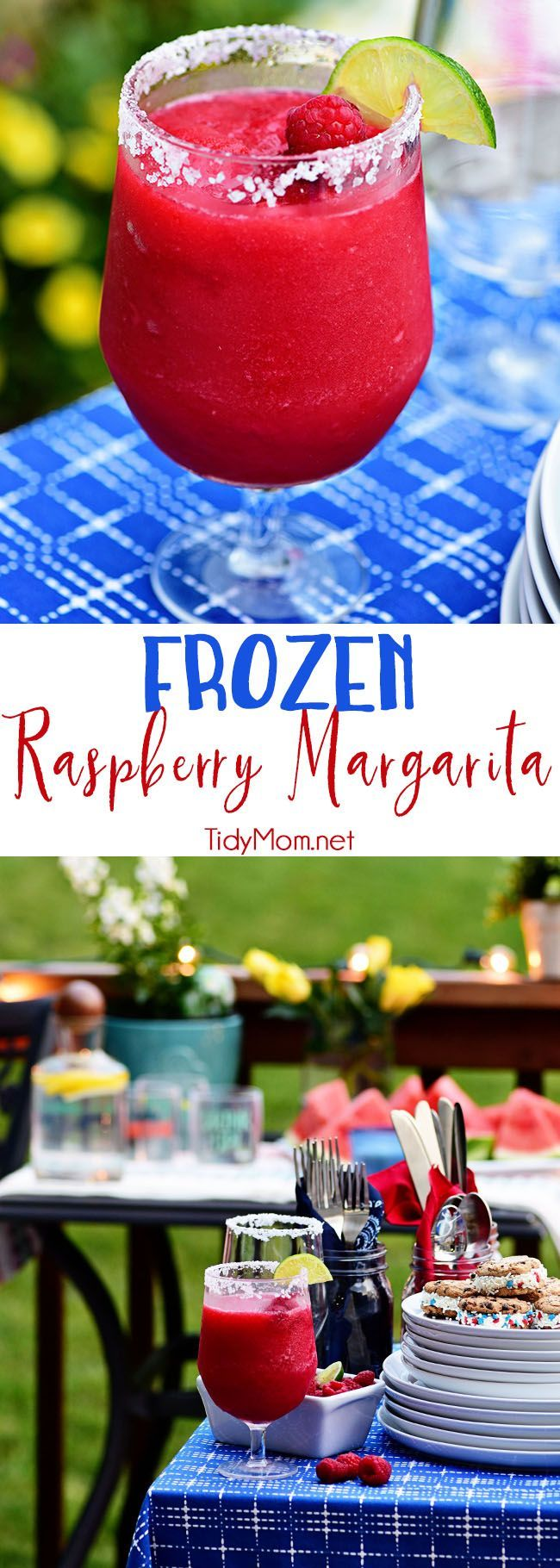 Frozen Raspberry Margarita is the perfect summer cocktail. Raspberry sorbet puts a refreshing twist on the traditional margarita, for a cool party sip! Get the full recipe at TidyMom.net - so delicious and tasty!