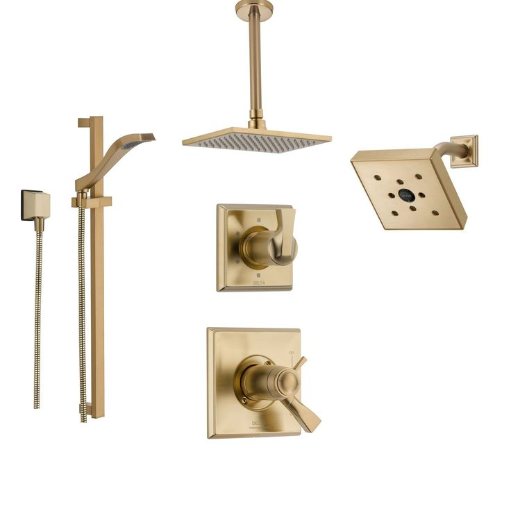 Delta Dryden Champagne Bronze Shower System with Thermostatic Shower Handle, 6-setting Diverter, Ceiling Mount Modern Square Showerhead, Wall Mount Shower Head, with Hand Shower SS17T5193CZ