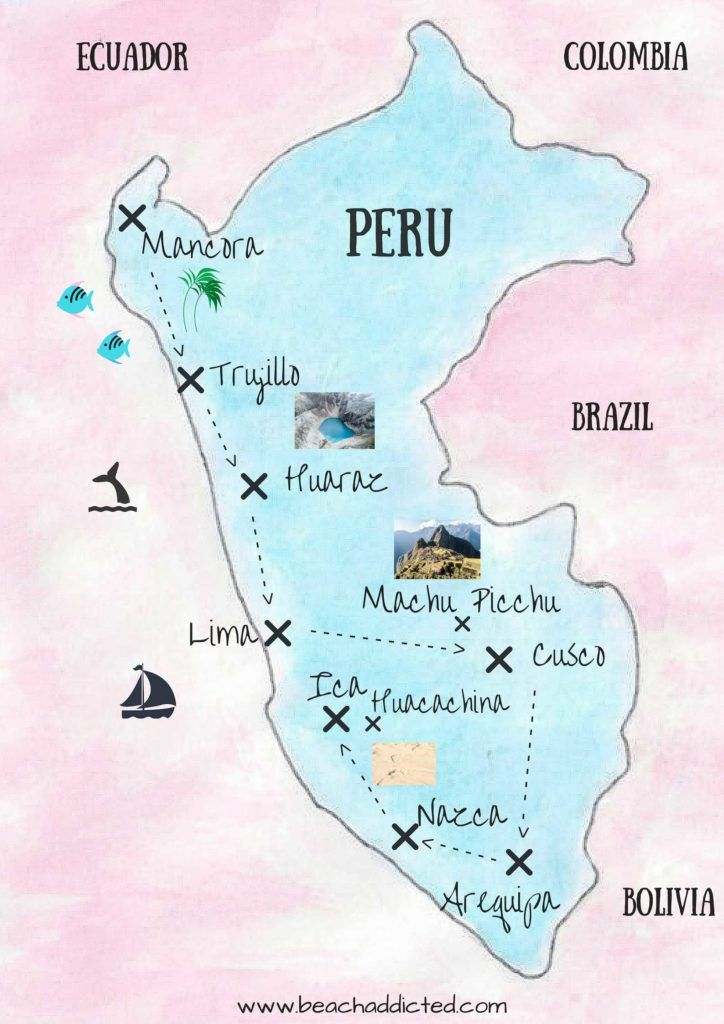 Huacachina Peru Map.Perfect 4 Weeks Itinerary In Peru Map Peru Perutravel