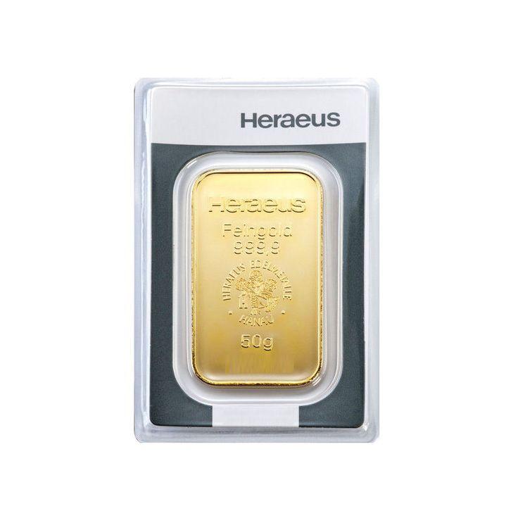 50 Gramm Goldbarren von Heraeus, einem der Marktführer