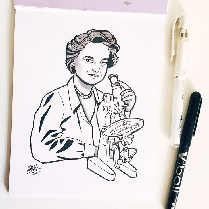 #inktober Day 24: Rosalind Franklin > The Dark Lady of DNA. She was an English chemist and who made contributions to the understanding of the molecular structures of DNA RNA viruses coal and graphite. Using her knowledge of x-ray diffraction techniques she took the first photo of DNA referred to as Photo 51. Without her permission scientists James Watson and Francis Crick did what they saw in Photo 51 as the basis for their famous model of DNA for which they received a Nobel Prize in 1962…