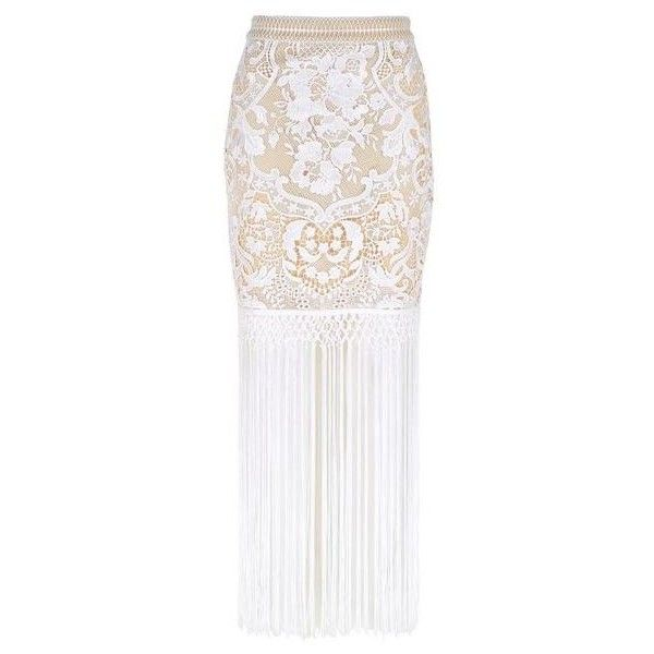 Lace All-over Skirt with Long Tassel ($71) ❤ liked on Polyvore featuring skirts, long white lace skirt, lace maxi skirts, long lace skirt, white maxi skirt and lace pencil skirt