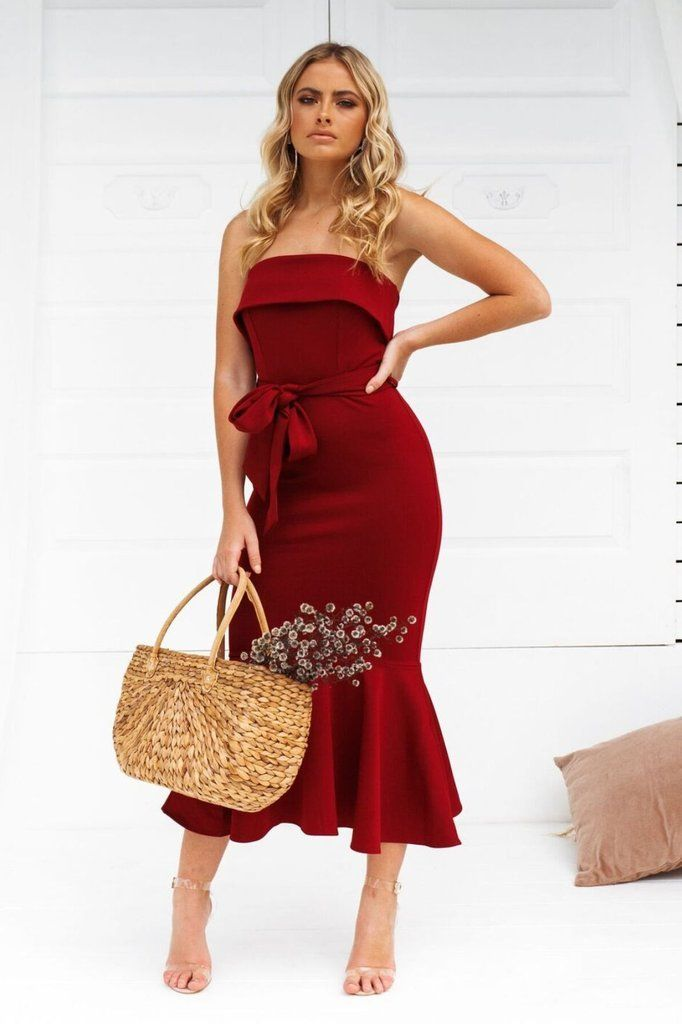 STUNNING STRAPLESS BURGUNDY DRESS PERFECT FOR ANY OCCASION! Therese Dress -  Burgundy! Shop now from Nouveau Riche Boutique! 2cf54e63b