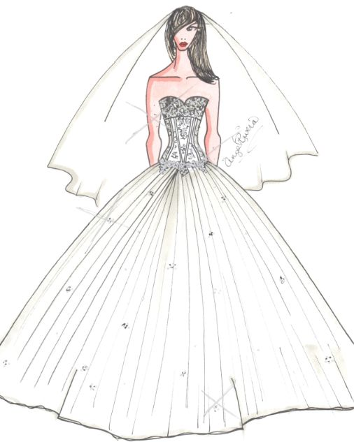 Boceto no solicitado para el vestido de novia de Miley Cyrus.    'Since Miley is a young bride, I could see her wanting a fairytale ball gown style dress. The look I sketched for her is bold and extravagant leaving no detail overlooked.' --ANGEL RIVERA