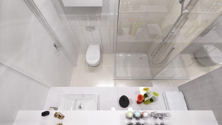 Projekt niewielkiej łazienki w bloku z prysznicem.