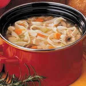 Best Chicken Noodle Soup  Homemade noodles  1 serving (1 cup) equals 330 calories, 13 g fat (4 g saturated fat), 100 mg cholesterol, 1,087 mg sodium, 29 g carbohydrate, 2 g fiber, 24 g protein.